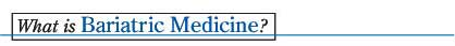 What is Bariatic Medicine Header